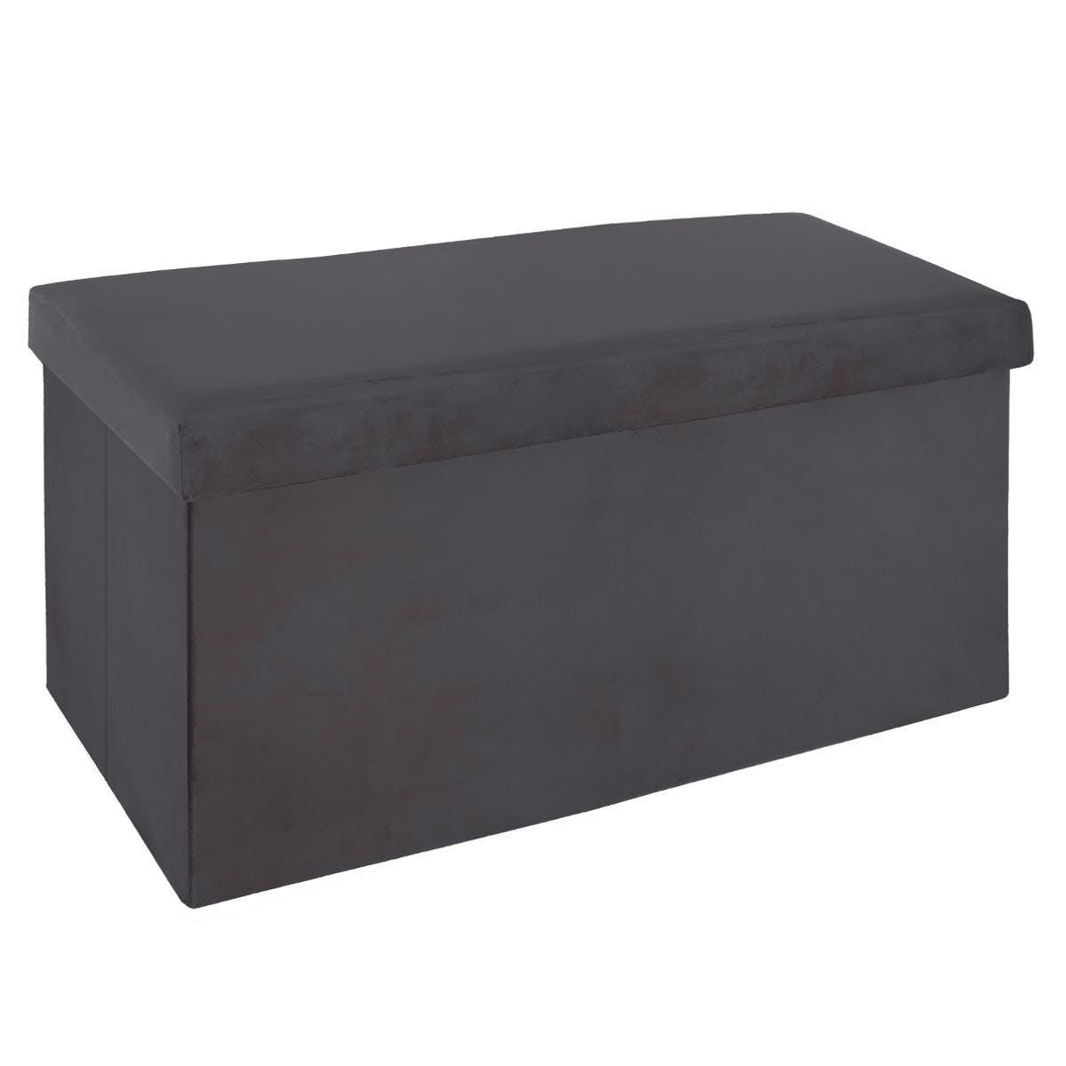 Banc coffre de rangement pliant revêtement en velours gris 76x38x37cm