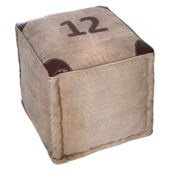 """Pouf carré """"12"""" en coton beige avec empiècement en cuir 40x40cm"""