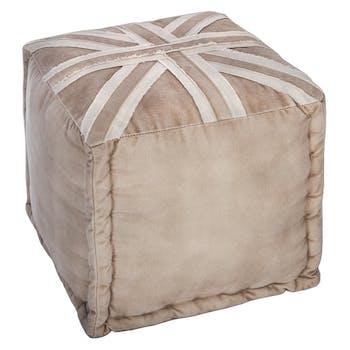 Pouf carré Union Jack en coton couleur sable 40x40cm
