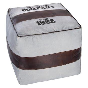 """Pouf carré """"The British Company"""" en coton blanc cassé et bande de cuir marron 40x40cm"""