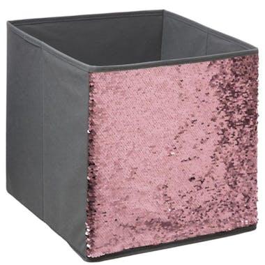Boite de rangement grise décor sequins roses 31x31cm