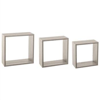 Lot de 3 étagères murales cube coloris chêne gris 30x12x30cm