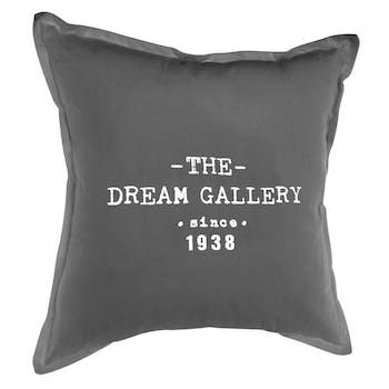 """Coussin """"The Dream Gallery"""" en coton gris foncé 40x40cm"""