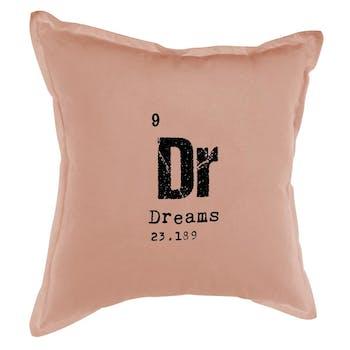 """Coussin """"Dr Dream"""" en coton couleur pêche 40x40cm"""