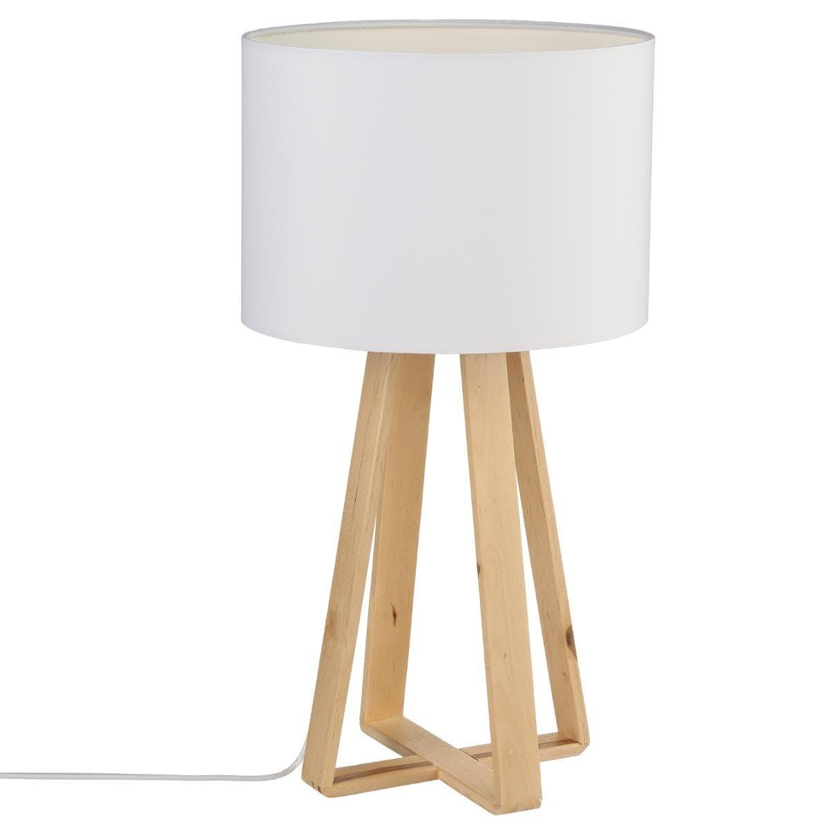 Lampe pieds bois naturel style scandinave et abat-jour blanc H47,5cm