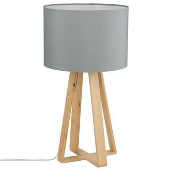 Lampe pieds bois naturel style scandinave et abat-jour gris H47,5cm