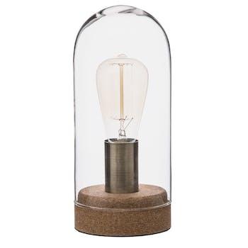 Lampe dome en verre et socle en liège H27cm