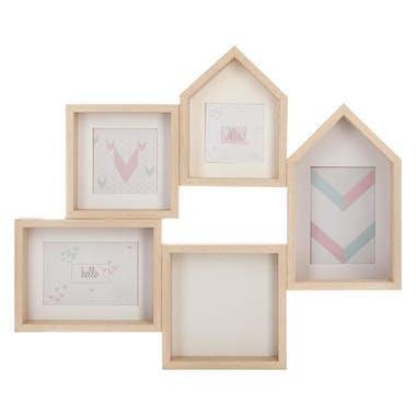 Pêle-mêle en bois 5 photos forme maison coloris naturel 58x48cm