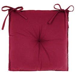 Galette de chaise en coton rouge 40x40x6cm
