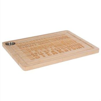 Planche à découper en bambou avec inscriptions gravées 59x15cm