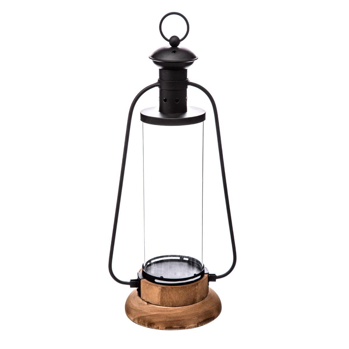Lanterne en bois et métal H42cm