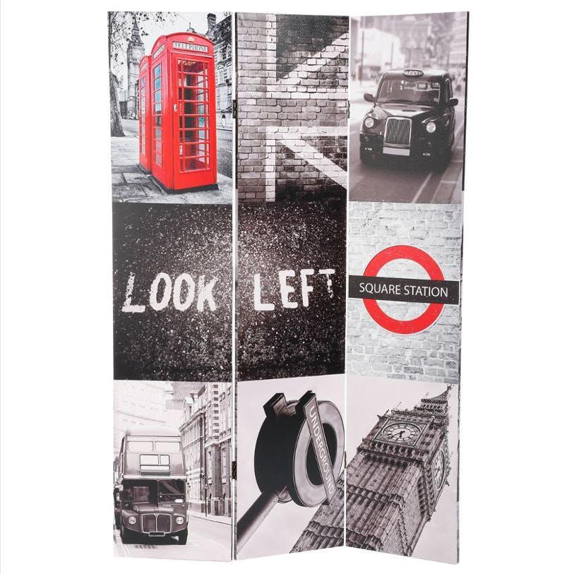 """Paravent décor """"London"""" 120x180cm"""