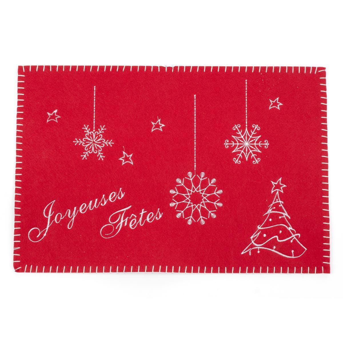 """Set de table en feutrine rouge brodée """"Joyeuses Fêtes"""" 30x45cm"""
