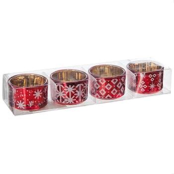 Lot de 4 photophores en verre rouge et décor argenté