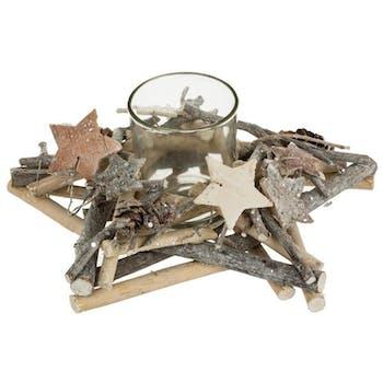 Photophore forme étoile en bois et verre