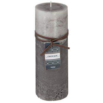 Bougie rustique 2 tons gris D9xH20cm