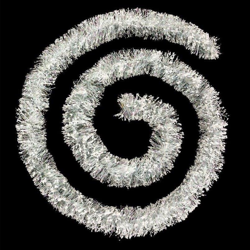 Guirlande floquée gris d'antan et billes blanches 3m