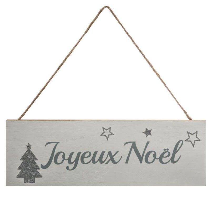 """Plaque message """"Joyeux Noël"""" en bois 30cm M2"""