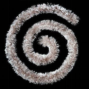 Guirlande floquée brillant blanc irisé et billes blanches 3m