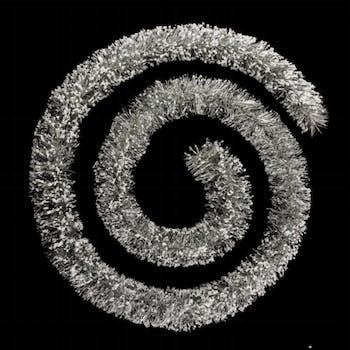 Guirlande floquée argent et billes blanches 3m