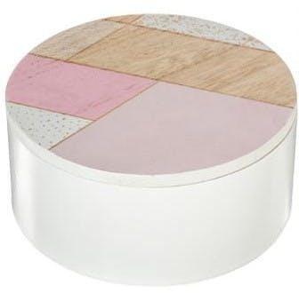 Boite à bijoux ronde en bois dessus graphique tons roses D13cm