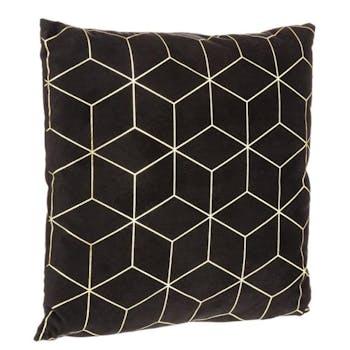 Coussin noir imprimé géométrique cube 40x40cm