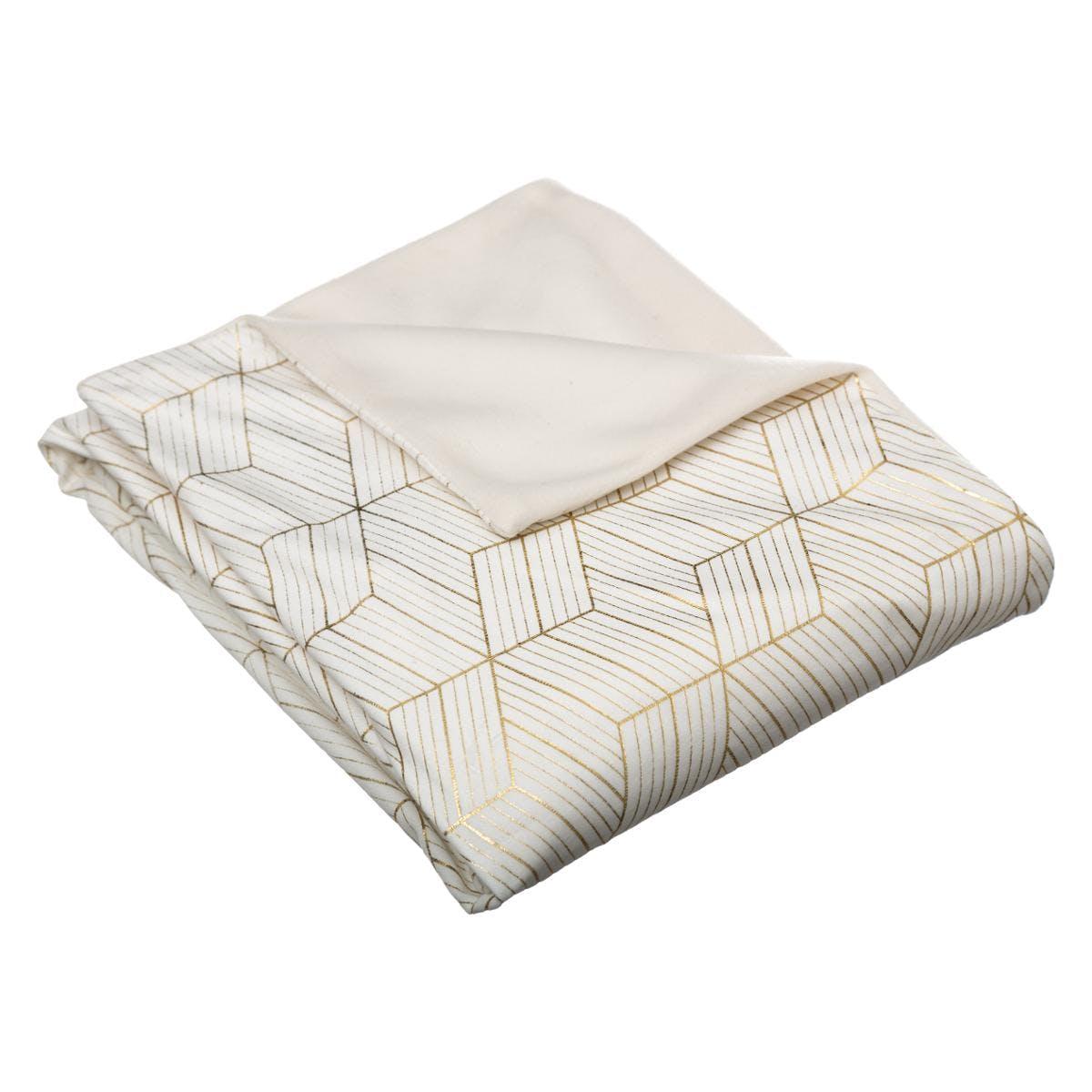 Plaid blanc imprimé géométrique 130x160cm