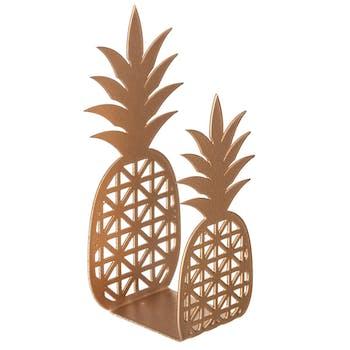 Porte-serviette Ananas en métal doré H15cm