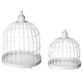 Lot de 2 cages forme cloche en métal blanc