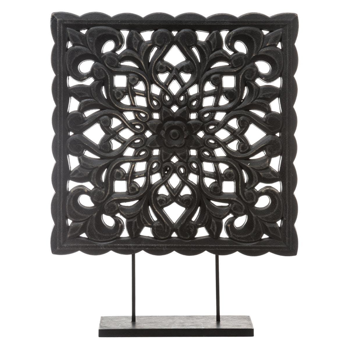 Ornement décoratif en bois sur pied marron H50cm