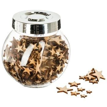 Bocal de décoration en bois forme étoile