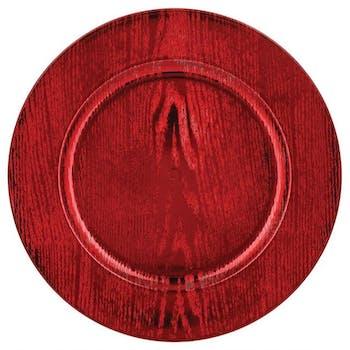 Assiette de présentation en bois rouge D33cm