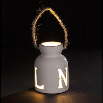 Photophore à LED en grès blanc ajouré