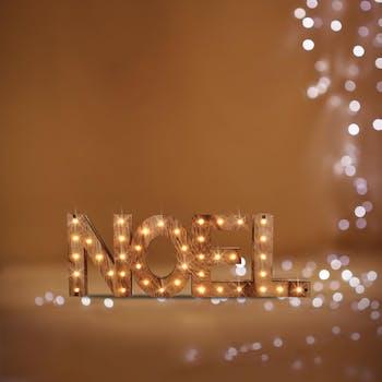 """Mot à poser """"NOEL"""" en bois avec LED 44x15cm"""