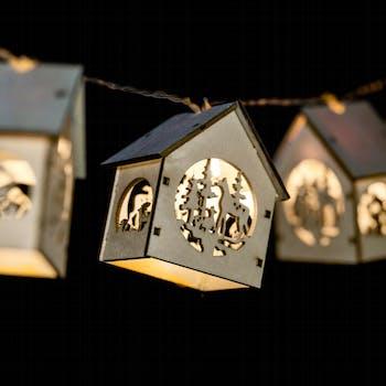 Guirlande d'intérieur à LED forme Maisons 1,35m