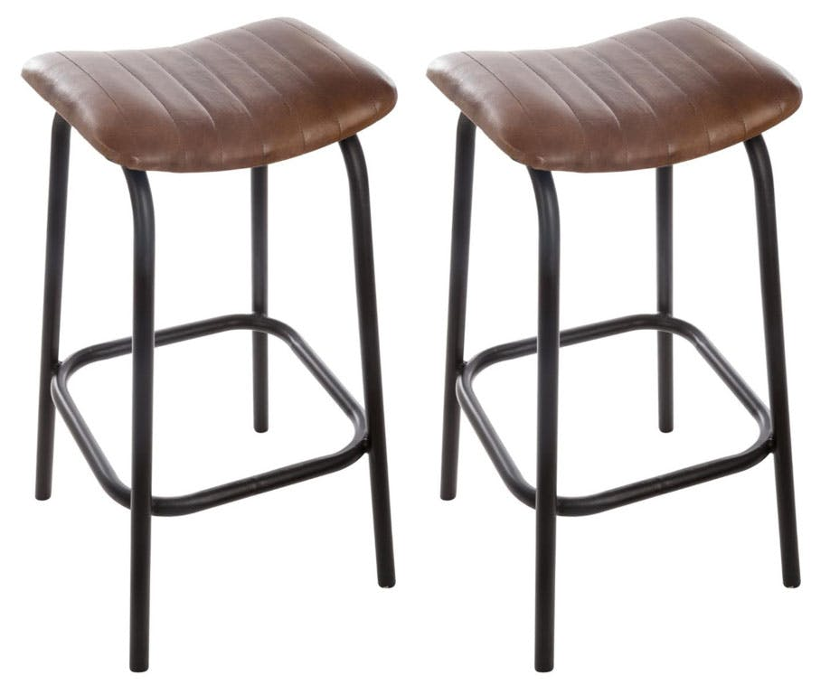 Lot de 2 tabourets de bar cuir marron réf. 30022044