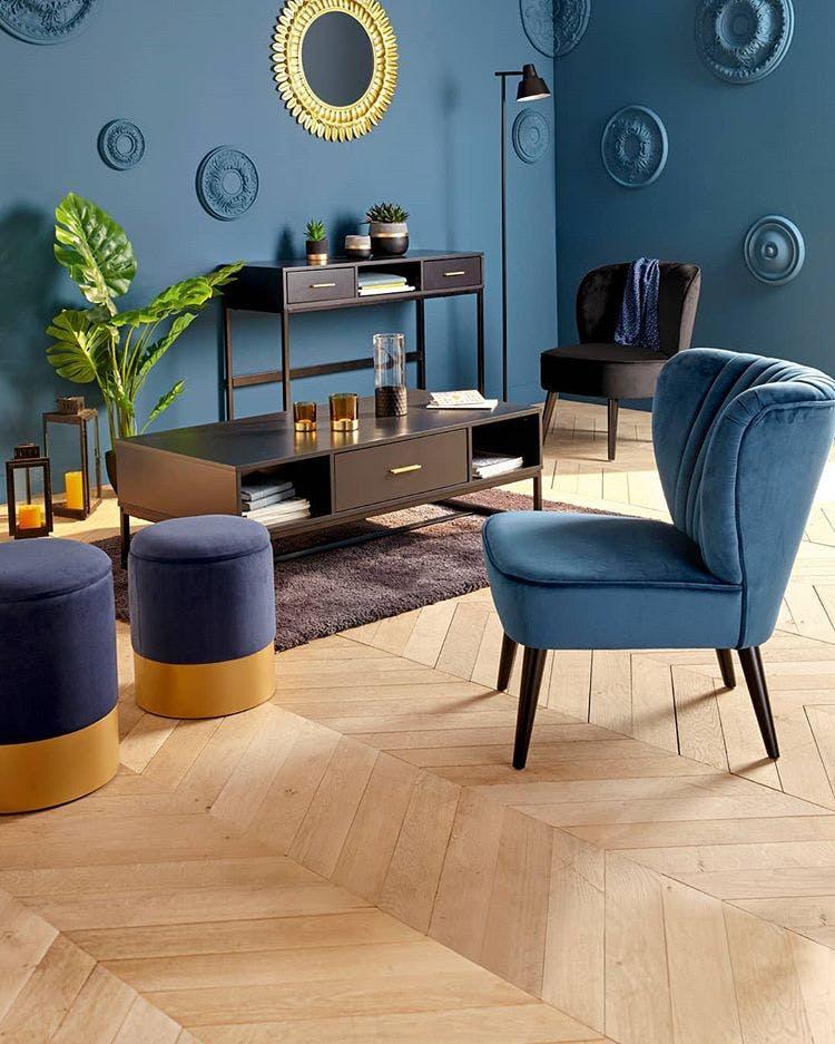 Fauteuil en velours bleu réf. 30022064
