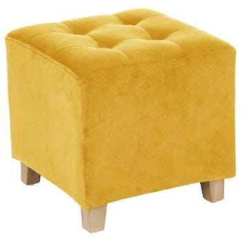 Pouf cube capitonné en velours moutarde 35x35cm