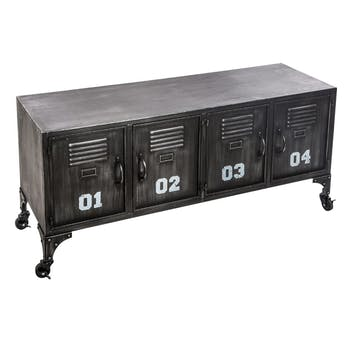 Meuble rangement bas métal noir 4 portes réf. 30022127