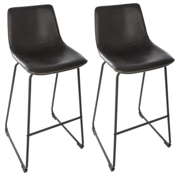 Lot de 2 tabourets de bar noir réf. 30022131