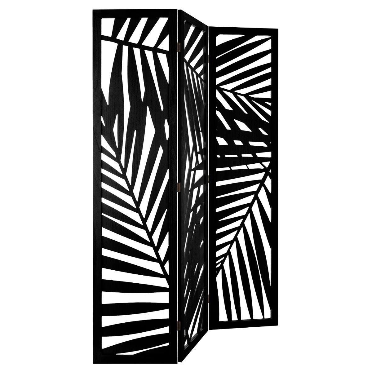 Paravent déco bois noir feuilles palmier réf. 30022132