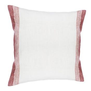 Coussin lin et coton blanc et rouge 40x40cm