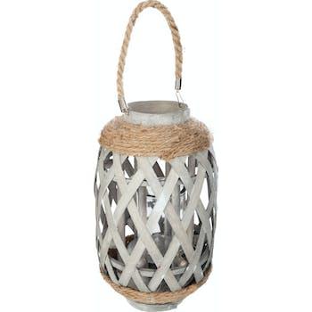 Lanterne ethnique en bambou et corde gris H32cm M2