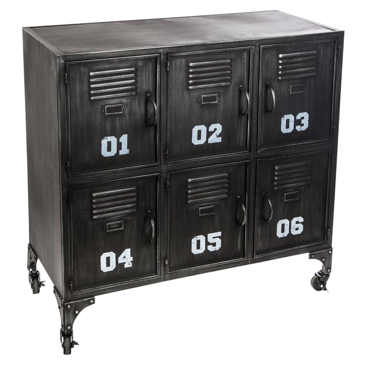 Meuble rangement métal noir 6 portes réf. 3002207