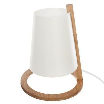 Lampe en bambou et abat-jour plastique blanc H26cm