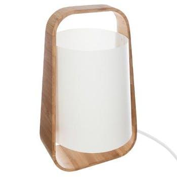 Lampe en bambou et abat-jour plastique blanc H35cm