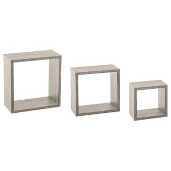 Lot de 3 étagères murales cube coloris chêne gris 25x9x25cm