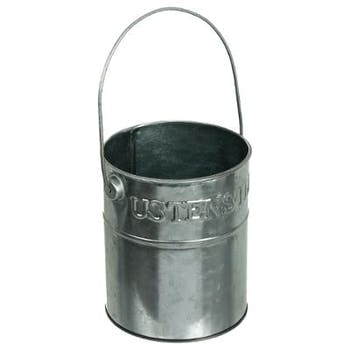 Pot à ustensiles en métal argenté D11,5cm
