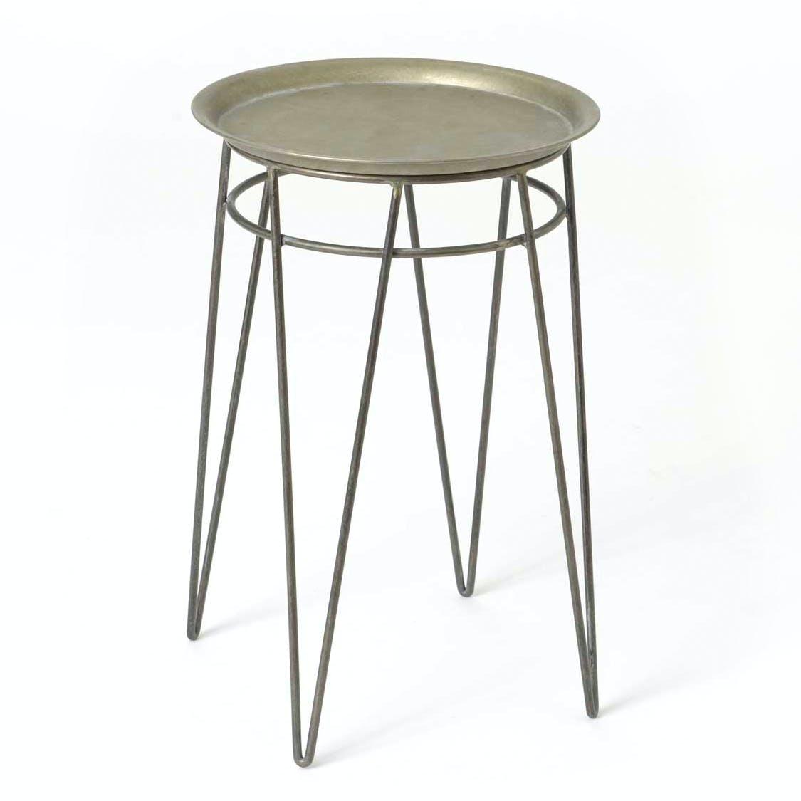 Bout de canapé / Table d'appoint ronde métal couleur argentée avec plateau amovible et pieds en épingle 2 tiges D35 H53cm
