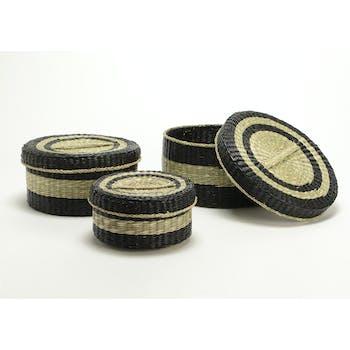 Boite ronde fibre naturelle et noire grand modèle